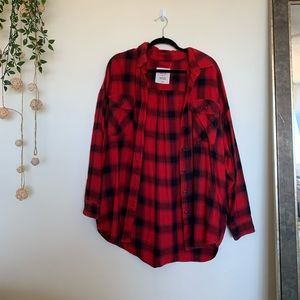 Oversized Checkered Red Flannel